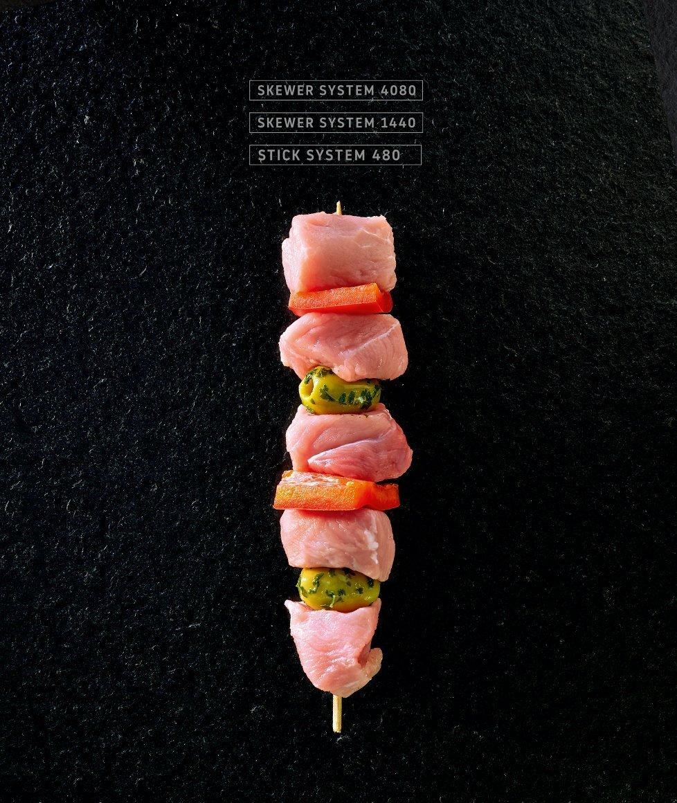 Miveg Skewer Systems · Fleisch-Gemüse-Spieß · Meal vegetable skewer
