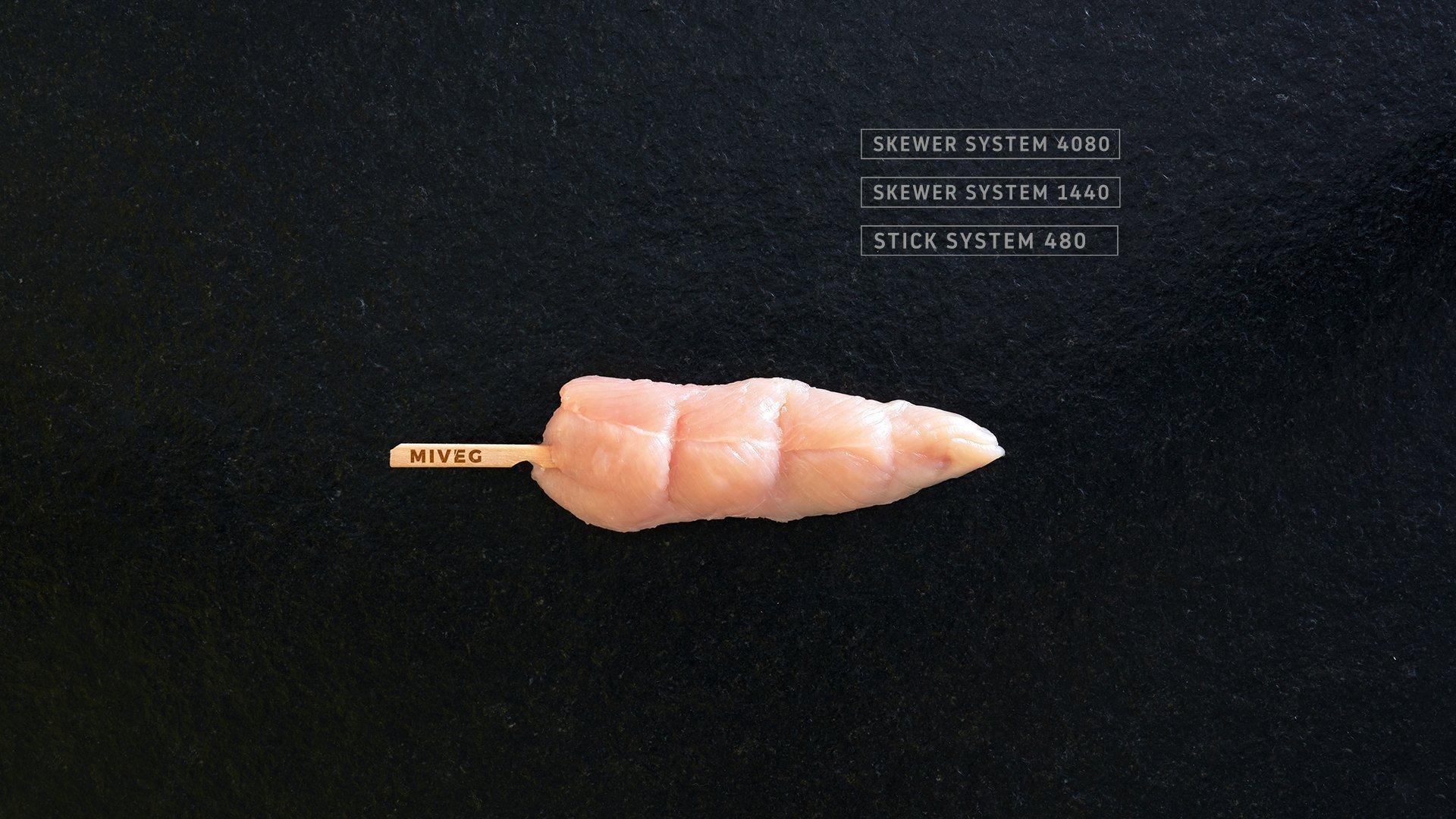 Miveg Skewer Systems · Hähnchenspieß, Flachspieß · Chicken tender skewer · Flat skewer