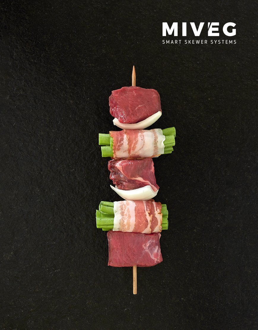 Miveg Skewer Systems · Speck-Bohnen-Spieß · Bacon bean skewer