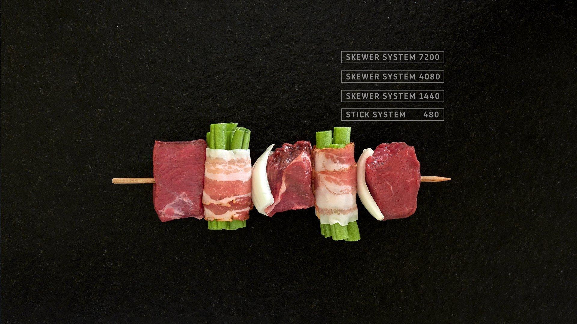 Miveg Skewer Systems · Fleisch Speck Bohnen Spieß · Meat bacon beans skewerv