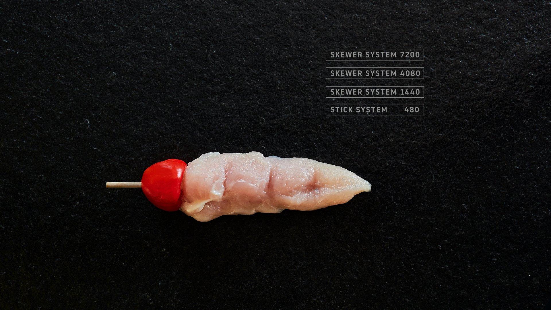 Miveg Skewer Systems · Hähnchen Tomate Spieß · Chicken Tomato Skewer