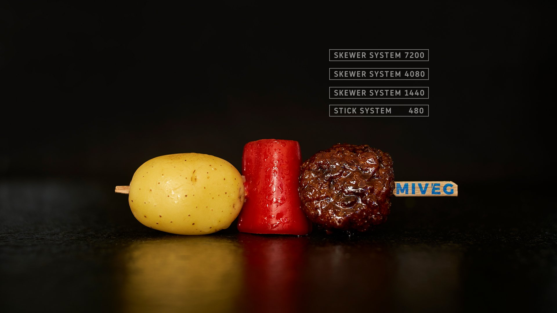 Miveg Skewer Systems · Kartoffel Paprika Hackfleisch Spieß · Potato paprika minced meat skewer