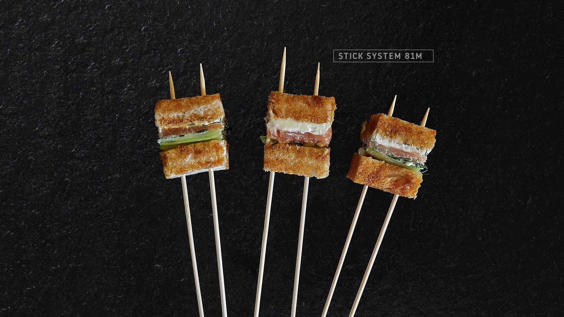 Miveg Skewer Systems · Brotspieß Lach Gurke Merrettich · Bread skewer salmon cucumber horseradish