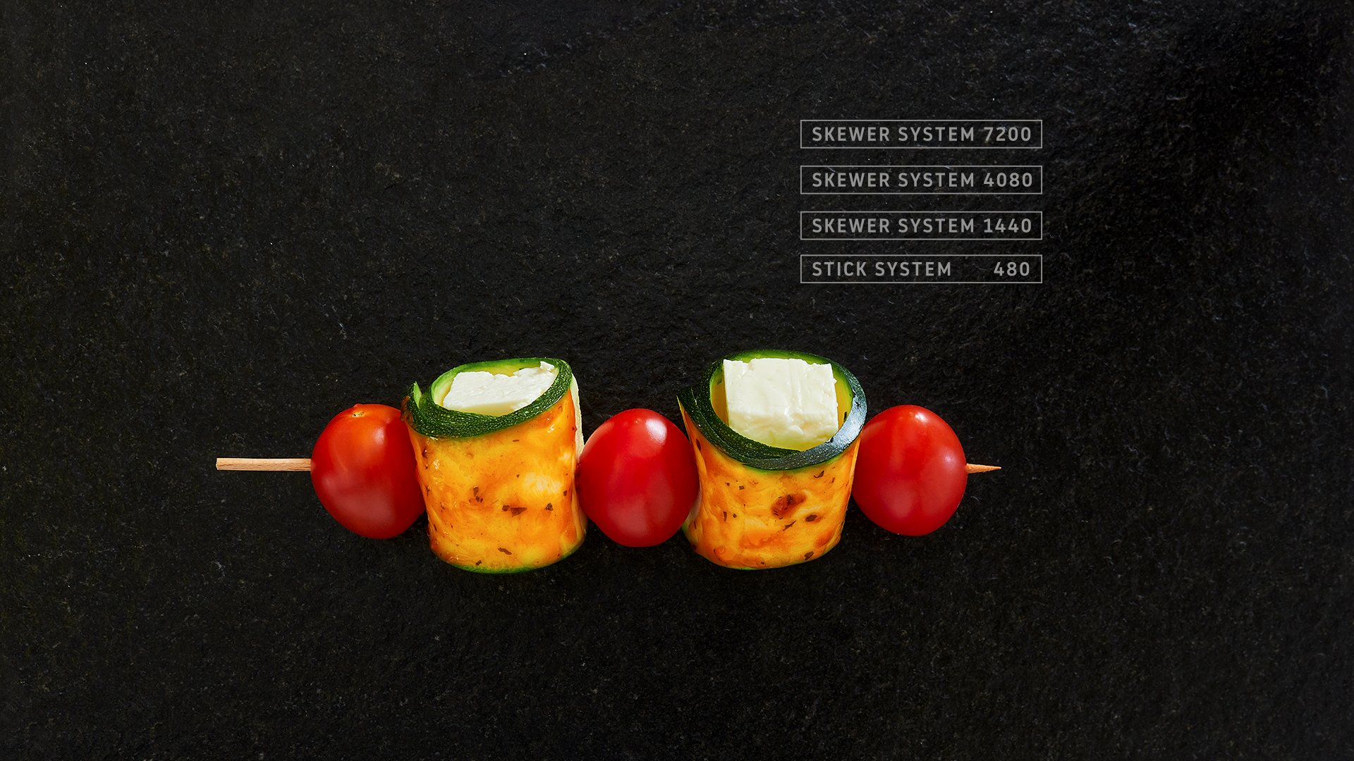 Miveg Skewer Systems · Tomate Gurke Käse Spiess· tomato cucumber cheese skewer