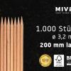 1.000 Buchenholz-Rundspieße, 3,2 mm Durchmesser, 200 mm lang in höchster Qualität von Miveg