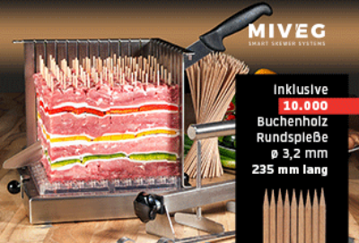 Stick System 108 · Spikomat · für 108 gewichtsgleiche Spieße · Miveg Smart Skewer Systems