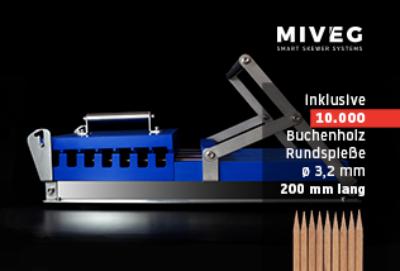 Stick System 480 · 10000 Rundspieße · Miveg Smart Skewer Systems · perfekter Fleischspieß