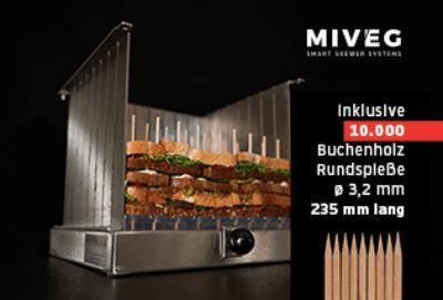 Stick System 72 · Spikomat · 72 gewichtsgleiche Spieße · Miveg Smart Skewer Systems · Rundspieße