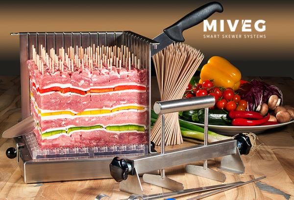 Stick System 108 · für 108 gewichtsgleiche Spieße · Miveg Smart Skewer Systems