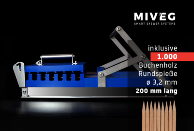 Stick System 480 · 1000 Rundspieße · Miveg Smart Skewer Systems