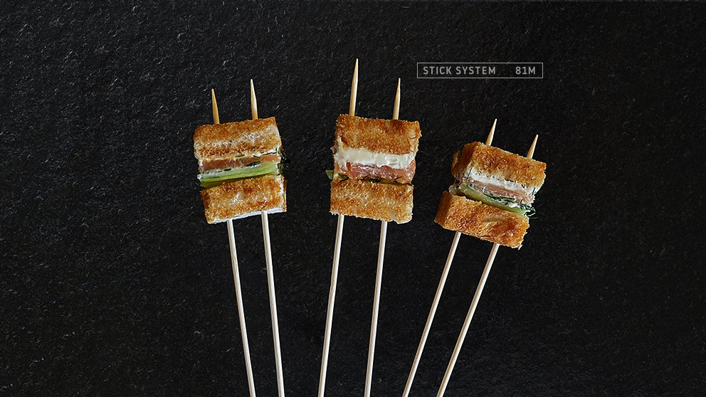 Miveg Skewer Systems · Brotspieß Lach Gurke Meerrettich · Bread skewer salmon cucumber horseradish