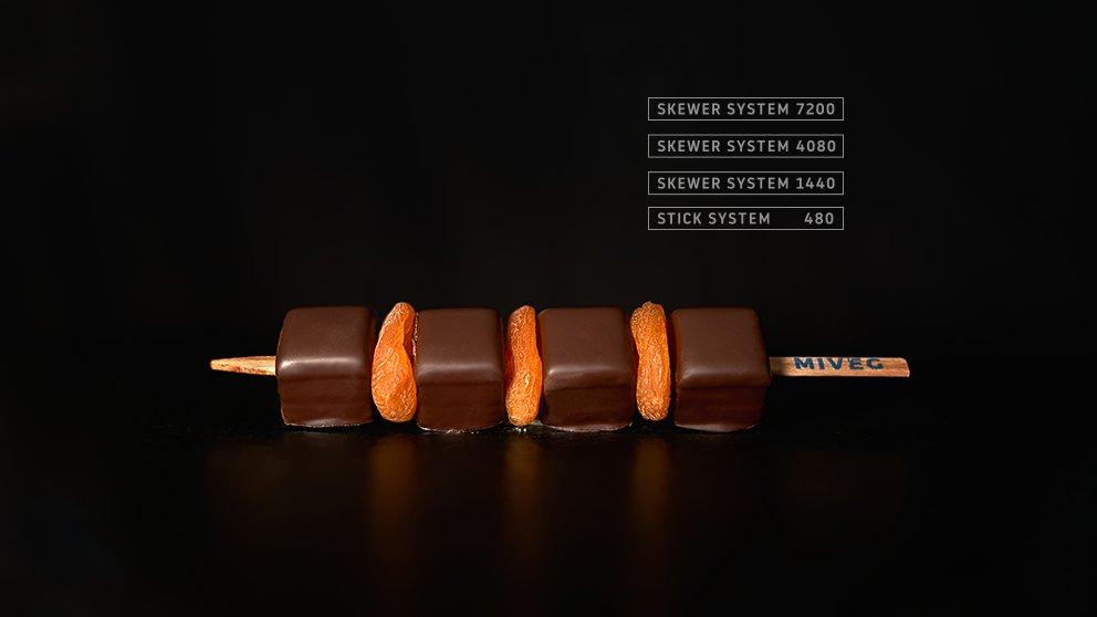 Miveg Skewer Systems · Dominostein getrocknete Orange Spieß · Dominostein dried orange skewer