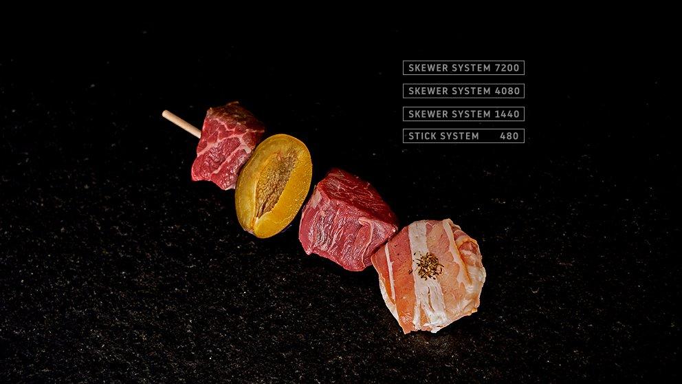 Miveg Skewer Systems · Fleisch Pflaume Käse Speck Spieß · meat plum cheese bacon skewer