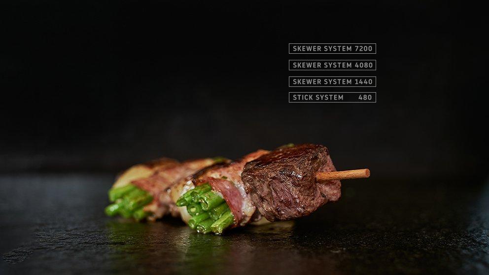Miveg Skewer Systems · Fleisch Speck Bohnen Spieß · Meat bacon beans skewer