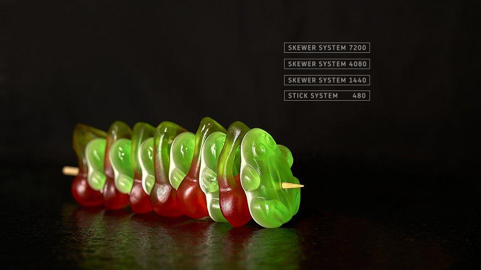 Miveg Skewer Systems · Frosch Kirschen Süssigkeiten Spieß · Frog cherries sweets skewer