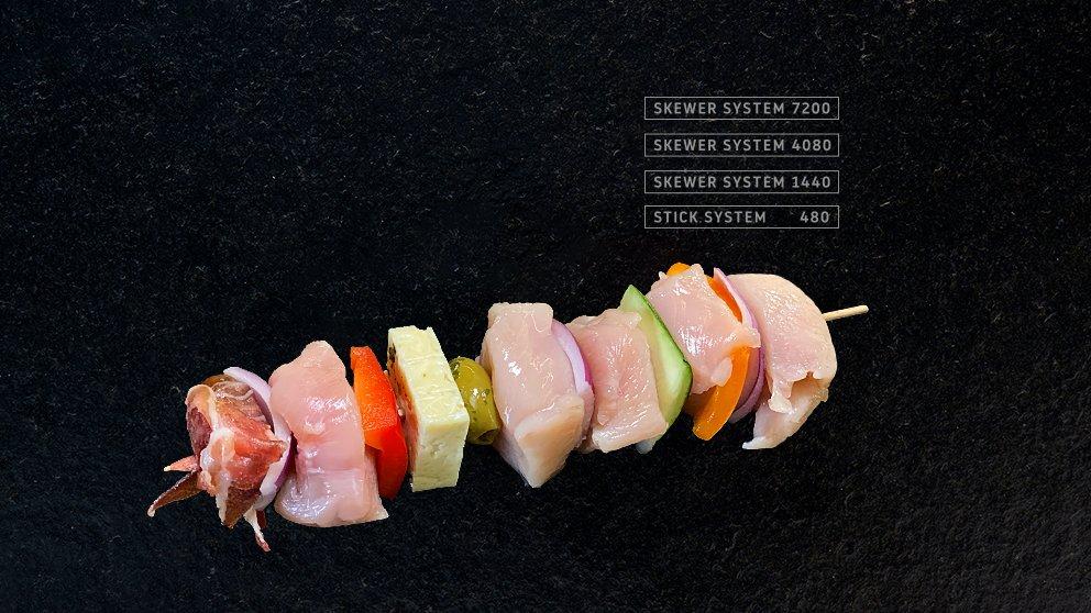 Miveg Skewer Systems · Hähnchen Dattel Spieß · Chicken date skewer