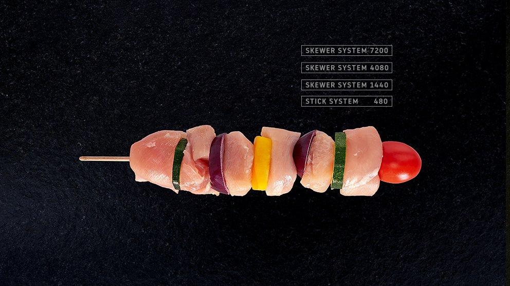 Miveg Skewer Systems ·Hähnchen-Gemüse-Spieß · Chicken Vegetable Skewer