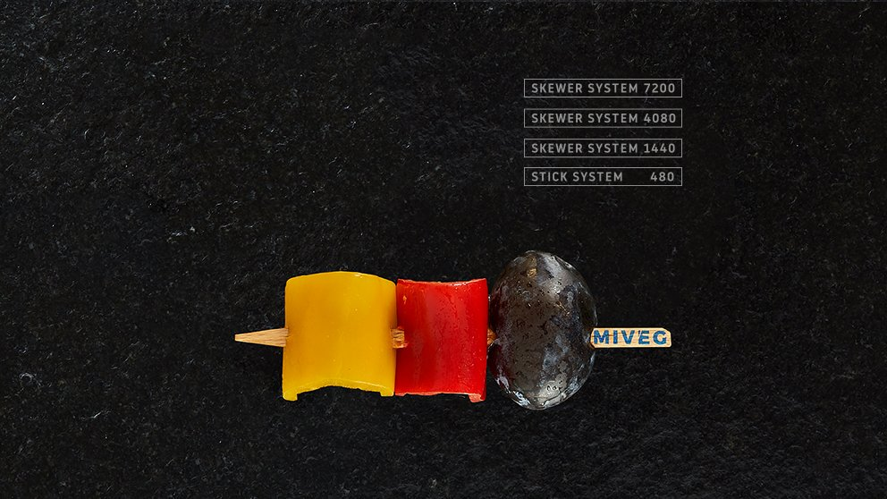 Miveg Skewer Systems · Pflaume Paprika Spiess· Plum Paprika Skewer