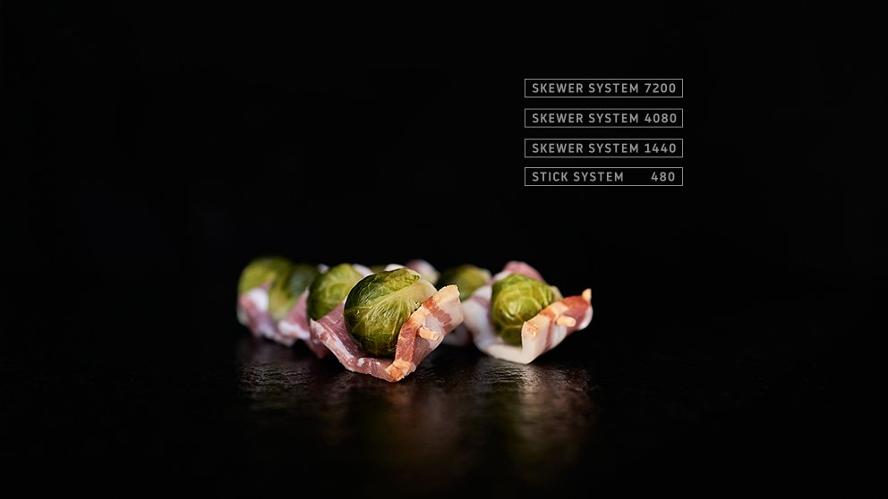 Miveg Skewer Systems · Rosenkohl Speck Spieß · Brussels sprouts bacon skewer