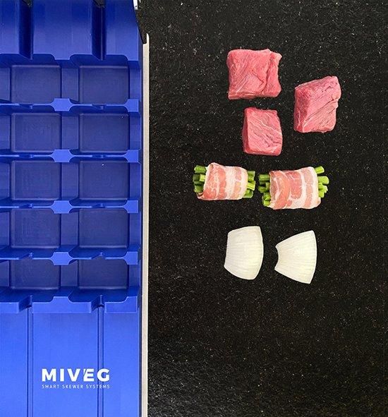 Miveg · Smarkt Skewer Systems · Filetspiess an Speckbohnen, gespießt · Fillet skewer with bacon beans, skewered