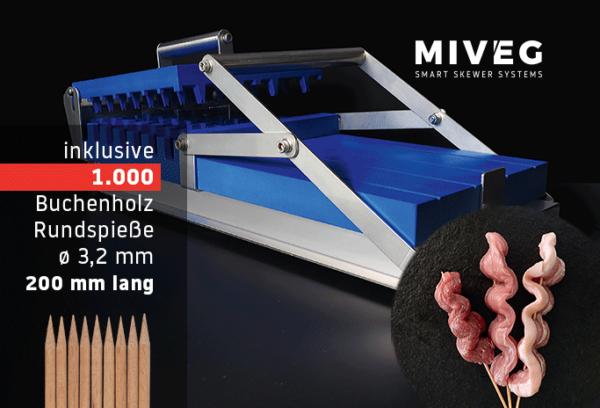 Stick System 480 · Wellenkassette · 1000 Rundspieße · Miveg Smart Skewer Systems