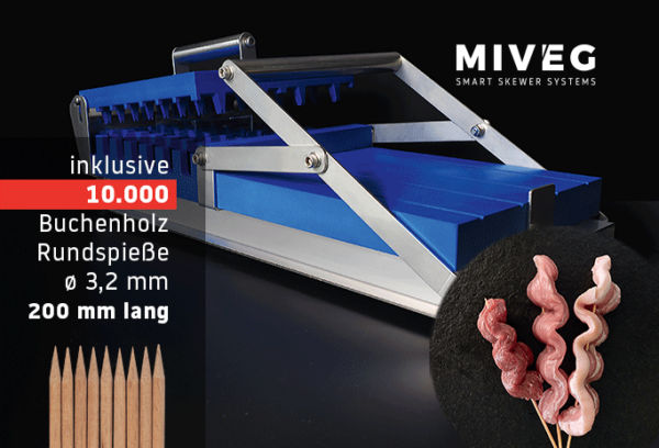 Stick System 480 · Wellenkassette · 10000 Rundspieße · Miveg Smart Skewer Systems