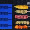 Multi Magazin · Stick System 480 · Satespiesse · Sate Spiesse · Hähnchen Innenfilet Spieße · Wellenspieße · Yakitori Spieße